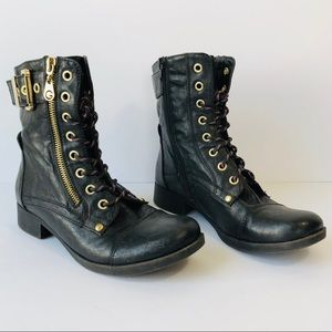 G by Guess black leather lace up boots 6